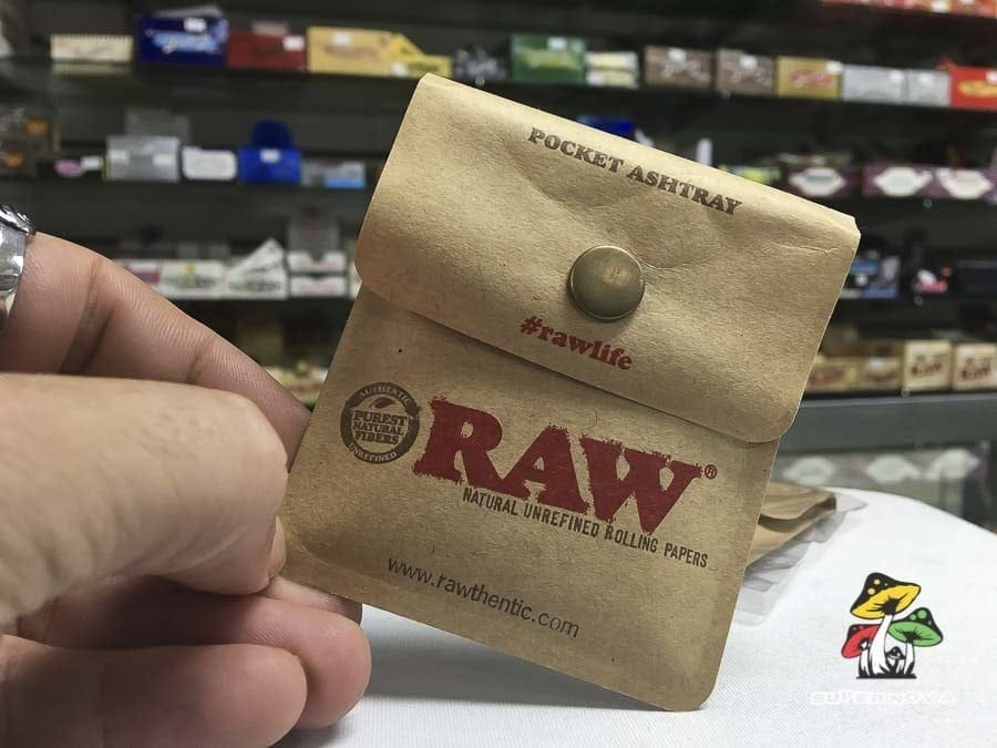 Photograph of foil lined RAW Pocket Ashtray