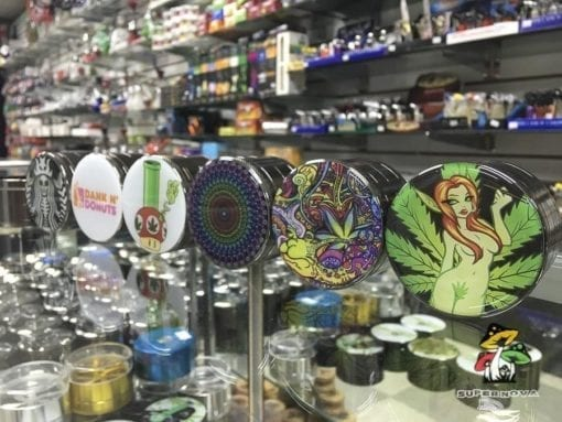 Supernova Smoke Shop has a variety of low cost herb grinders in a dizzying array of styles like Darth Vapor, the 1-up mushroom, HTC Chemical Composition and more.