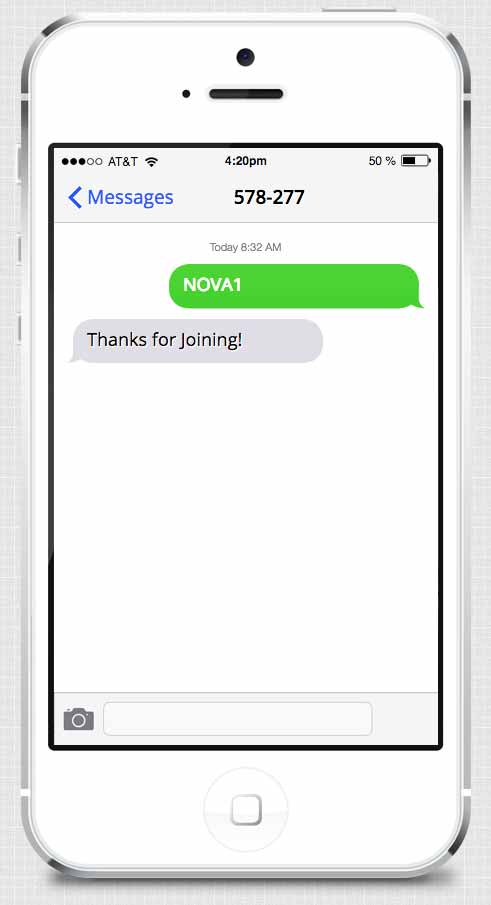 Text Message to Join The Supernova Loyalty Rewards Program Example.